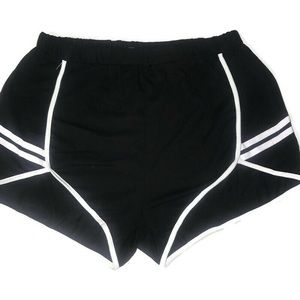 XL high cut black and white athletic booty shorts